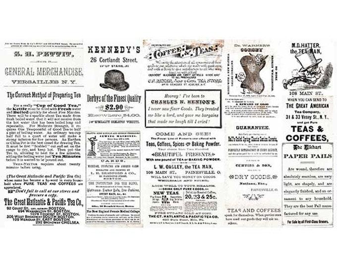 QT Fabrics Wecker-Frisch Hatters Tea Party Vintage Ad Label Newspaper Tea 26147-E Fabric Panel BTP