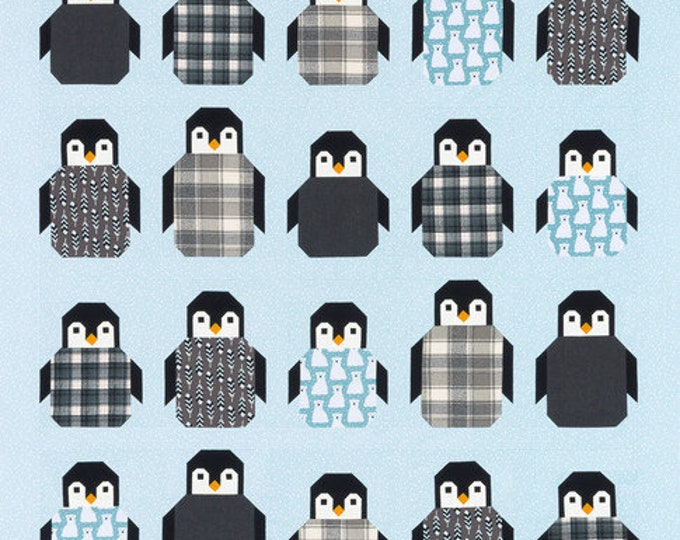 NEW Robert Kaufman Penguin Party Elizabeth Hartman Quilt Kit with Fabric and Modern Pattern 3 Sizes