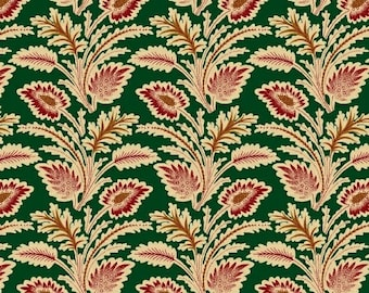 Marcus Old Sturbridge Village Civil War Christmas Green Red Floral Leaf Fabric 3159-0114 BTY