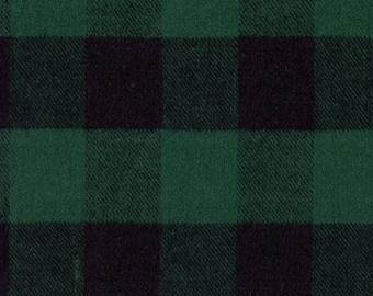 Marcus Primo Plaids Flannel Classic Tartans Green Black Buffalo Plaid Fabric J372-0114 BTY