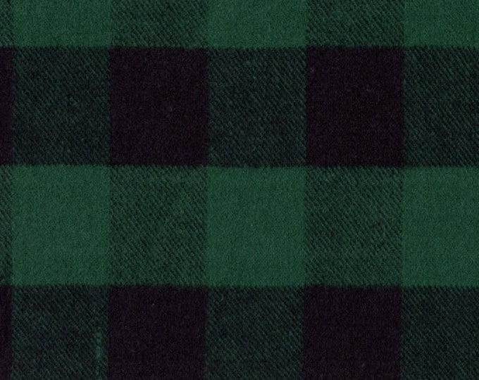 Marcus Primo Plaids Flannel Classic Tartans Green Black Buffalo Plaid Fabric J372-0114 BTY