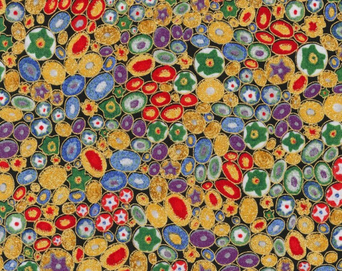 Robert Kaufman Gustav Klimt Multi Pebbles Flower Mille Fiore Gold Cotton Gilded Fabric BTY 17183-205
