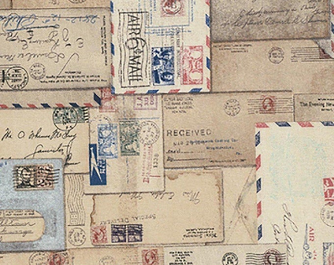 Free Spirit Tim Holtz - Foundations - Correspondence Vintage Postcard Letter Envelope Writing Fabric PWTH048 BTY