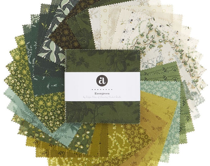 Andover Edyta Sitar Laundry Basket Quilts LBQ Evergreen Green Cream 5 x 5 Inch Charm Squares Fabric