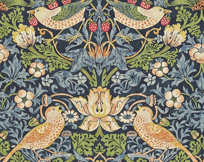 Free Spirit Kelmscott by Morris & Co. Navy Blue Strawberry Thief Wallpaper Bird Fabric PWWM001 BTY