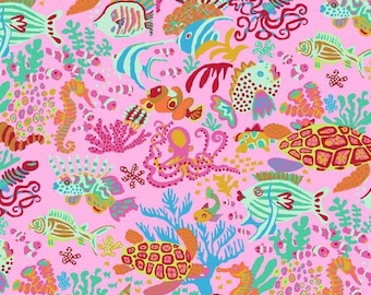 NEW Free Spirit Kaffe Fassett Spring 2018 Jolly Scuba Pink Ocean Fish Seahorse Fabric PWBM064 BTY