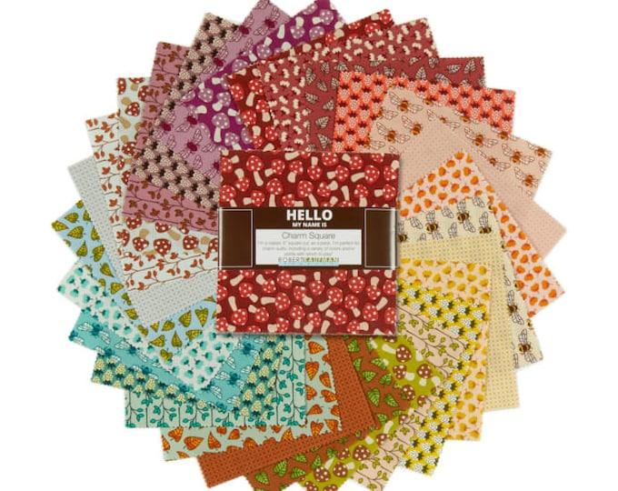 Robert Kaufman Berry Season Elizabeth Hartman Mushroom Strawberry Bee Charm 5 x 5 Squares Fabric