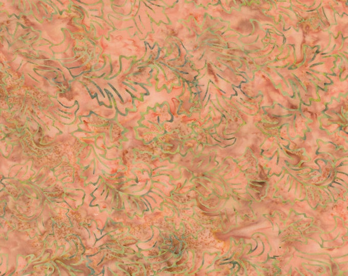RJR Jinny Beyer Malam Batik Peachy Orange with Green Leaf Leaves Batik 2142-002 Fabric BTY