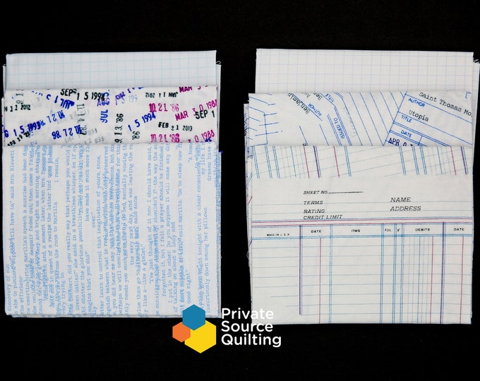Windham JOT Literary Heather Givans Notebook Ledger Library Stamp Graph Paper 6 Fat Quarter Fabric