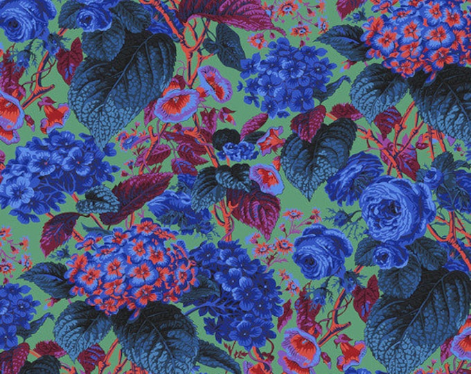NEW Free Spirit Kaffe Fassett Rose and Hydrangea  Red Pink Blue Green Floral PWPJ097.BLUE Fabric BTY