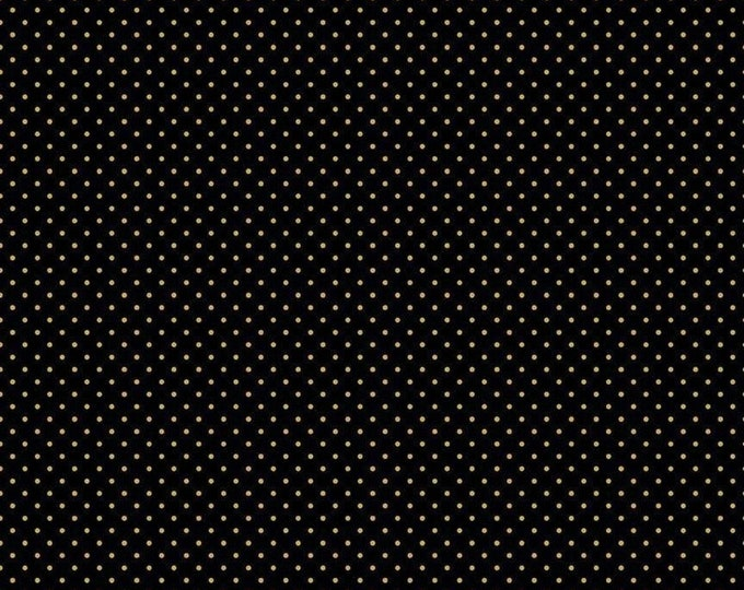 Riley Blake Designs Small Dots Black-Gold C670 Cotton Fabric  BTY