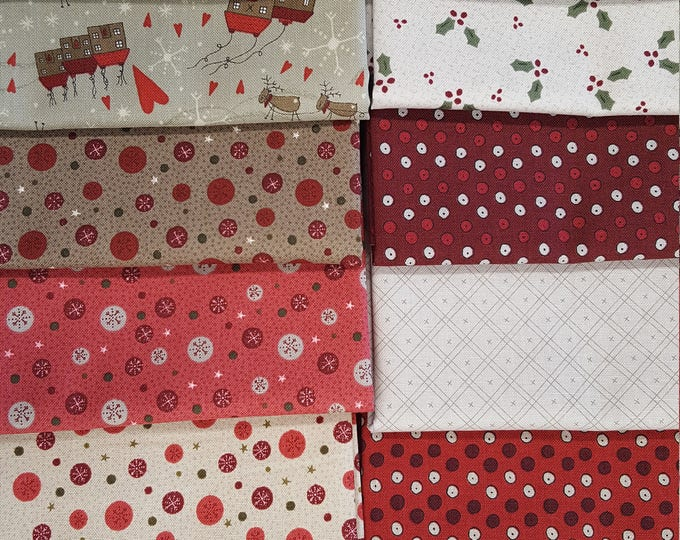 Lynette Anderson Winter Village Festive Fun Christmas Santa Reindeer Fabric 14 Fat Quarter Set 2