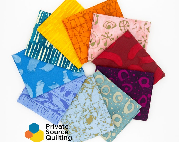 Windham Marcia Derse Art History Brights Red Yellow Orange Blue Teal Magenta Fabric 10 Fat Quarter Bundle