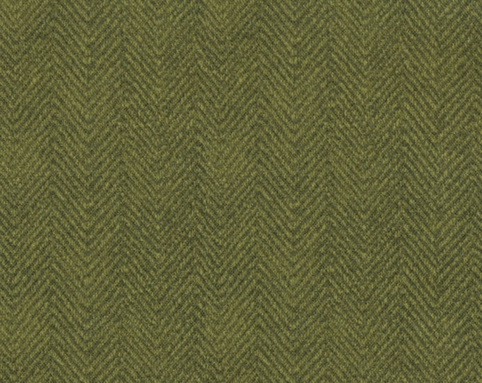 Maywood Woolies Olive Forest Green Herringbone MASF-1841-G Flannel Fabric BTY