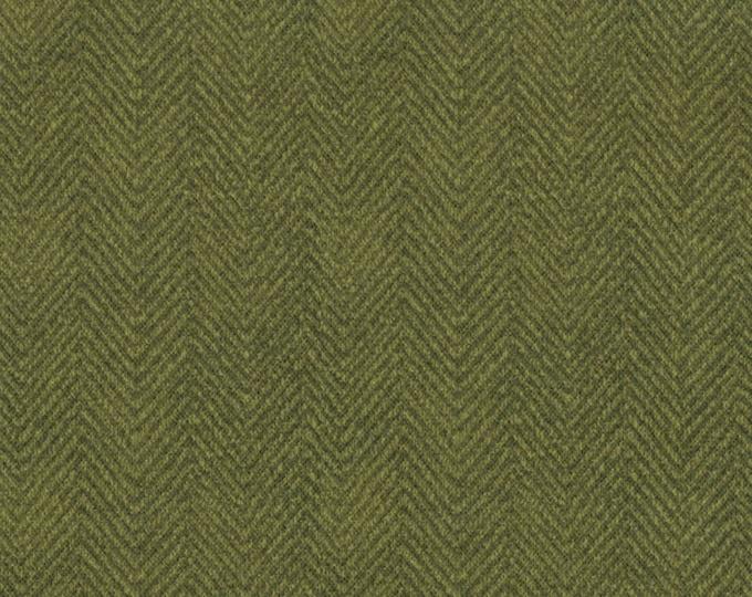 Maywood Woolies Olive Forest Green Herringbone MASF-1841-G Flannel Fabric BTHY