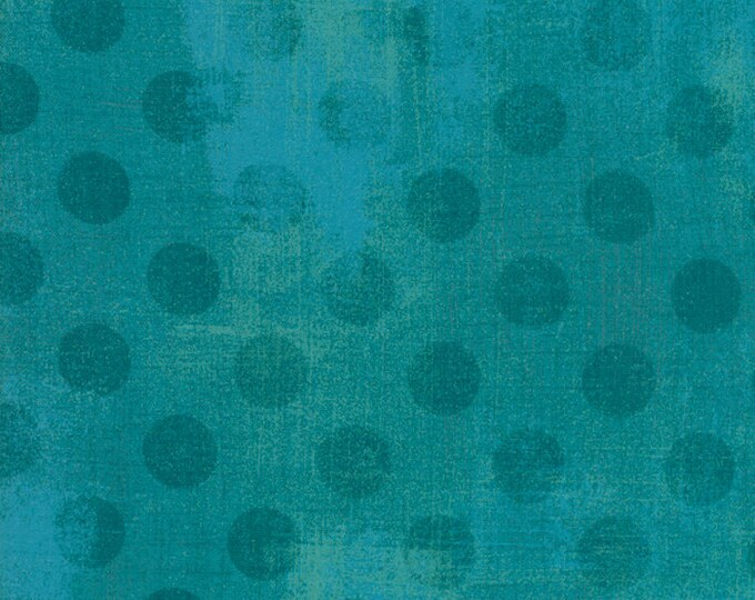 Moda Basic New OCEAN Teal Turquoise Hits the Spot Blue Green Polka Dot Grunge 30149-31 Fabric BTY