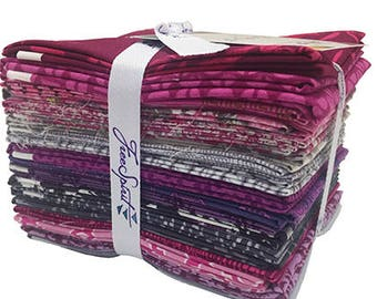 Free Spirit Saturday Stash Lovely Pink Purple Modern 20 PCS Fat Quarter Bundle Collection Quilt Fabric