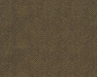 Maywood Woolies Dark Brown Herringbone MASF-1841-J Flannel Fabric BTY 1 Yd