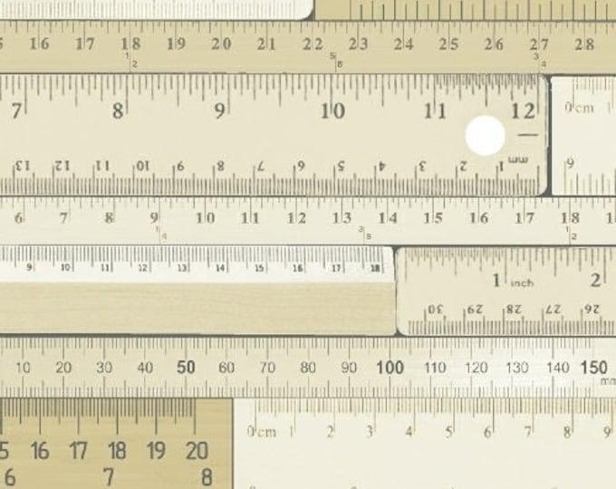 Windham Measure Beige Cream Tonal Ruler Number Fabric 43121-1 BTY