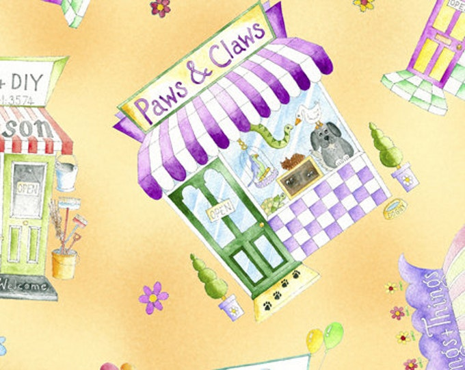Quilting Treasures Shop Hop Store Front Kids Yellow Purple Fabric 26924-S BTY