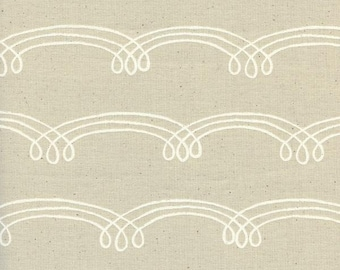 Zephyr Whirlwind Dust  Cream Swirls Unbleached Cotton Cotton and Steel Fabric 1923-2 BTY