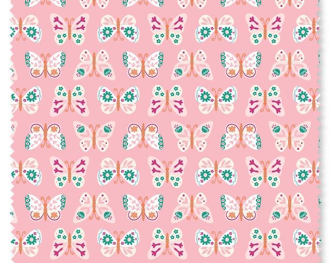 Felicity fabric 610026 Butterflies Pink Summer garden Watermelon BTY