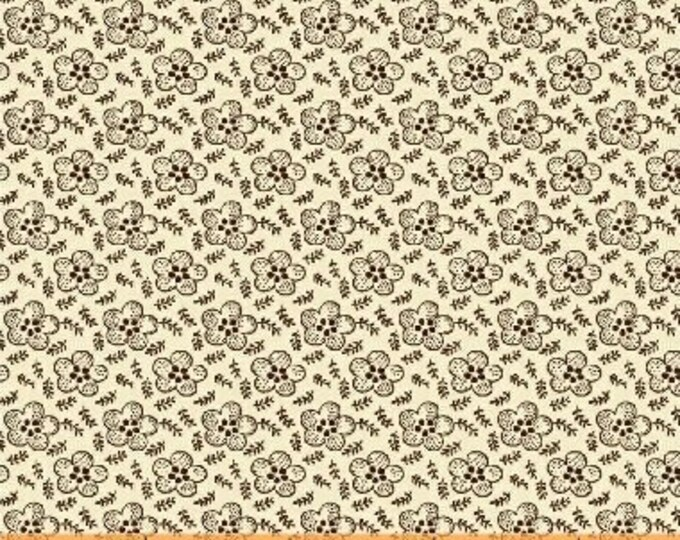 Windham Simply Red Mary Koval Cream Brown Floral Civil War Reproduction Fabric 42895-3 BTY