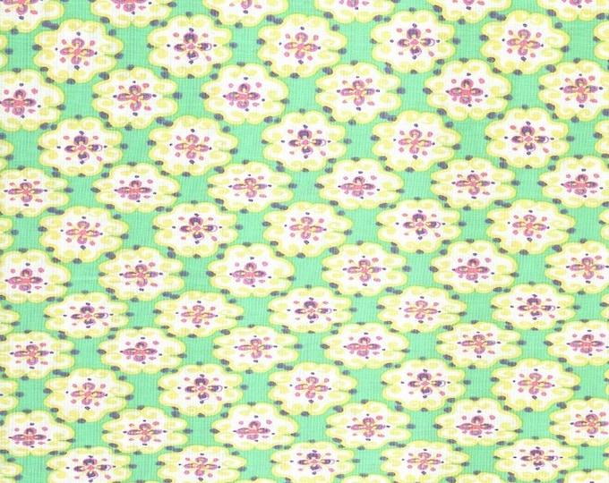 Free Spirit Westminster Dena Designs Sun Drop Blossoms on Green background  Cotton 03215-55 BTY