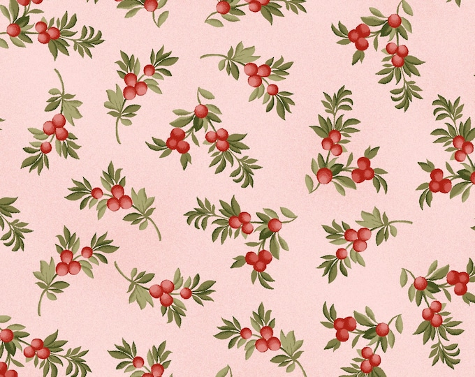 Maywood Fabric MAS9324-P A Fruitful Life Berry Branches Pink BTY