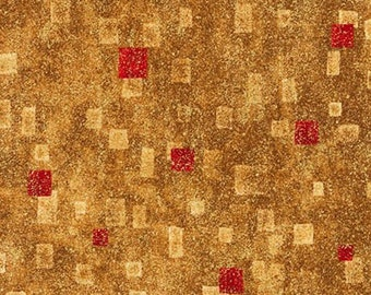 Robert Kaufman Gustav Klimt Red Gold Yellow Cotton Gilded Square Fabric BTY SRKM-17181-3