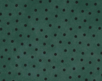 Maywood Woolies Medium Teal Blue Green with Black Polka Dot FLANNEL 18506X-BG Fabric BTY