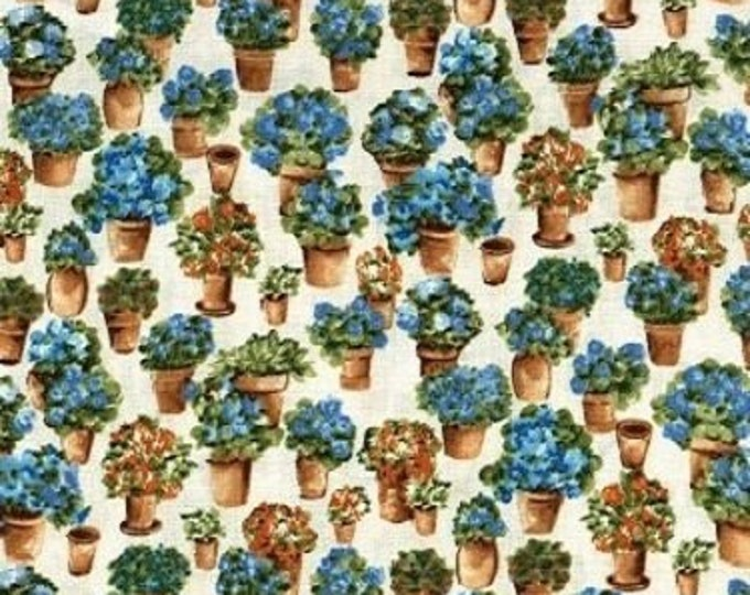 Fabric Freedom Country Garden F0389-02 Cotton Fabric Planters with Blue Flowers BTY