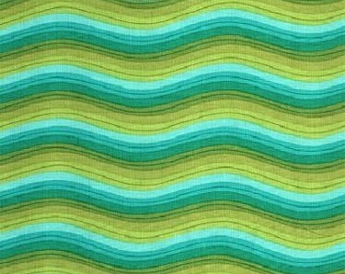 Fabric Freedom shadows Summer of Love stripe yellow, green, blues tone, Green Background Cotton F0404-01 BTY