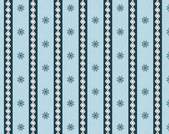 Maywood Frolic in the Snow Snowflake Winter Stripe BLUE Flannel Fabric BTY
