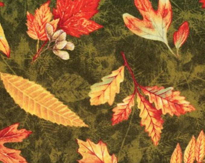 Wilmington Prints sew by Kathy Rusynyk  Fall Colors Packed Leaves Green Background  Cotton 94076-758  BTY