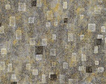 Robert Kaufman Gustav Klimt Grey Gray Charcoal Gold Cotton Square Gilded Fabric BTY SRKM-17181-184