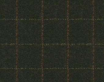 Maywood Woolies Dark Brown with Rust and Tan Large Windowpane Plaid FLANNEL Fabric MASF-1879-J BTY