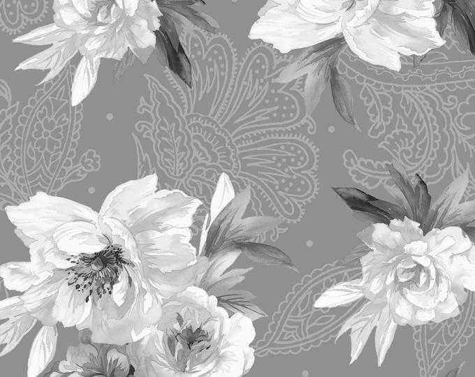 Maywood Fabric MAS9613-K Nocturne  Flowers on Paisley BTY