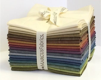Marcus Fabrics Aged Muslin Rustic Worn Fabric Cream Tan Mauve Teal Green Purple 18 Fat Quarters FQ