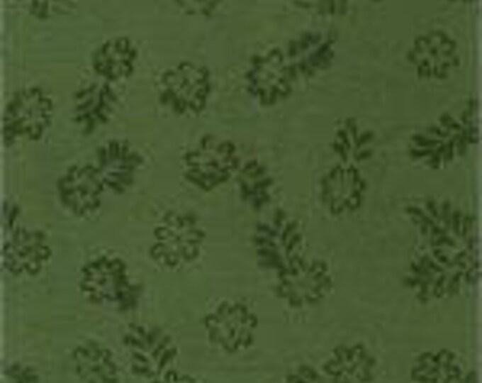 Batik Textiles Fabric Primitive Tonal Military green Flowers 0803 BTY