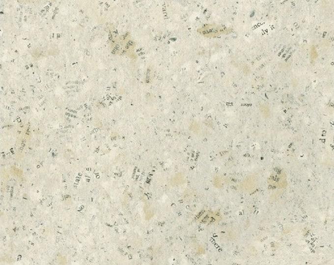 NEW Windham Seven Seas type writing Newsprint Tan Blue Green Fabric 51385-1 BTY