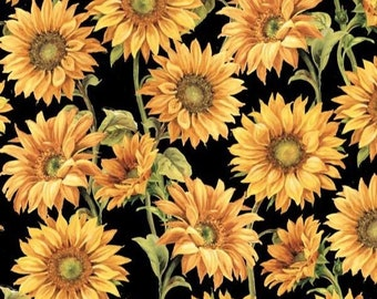 Wilmington Prints Follow the Sun Sunflower with Black Fabric 1409-957 34 Inches