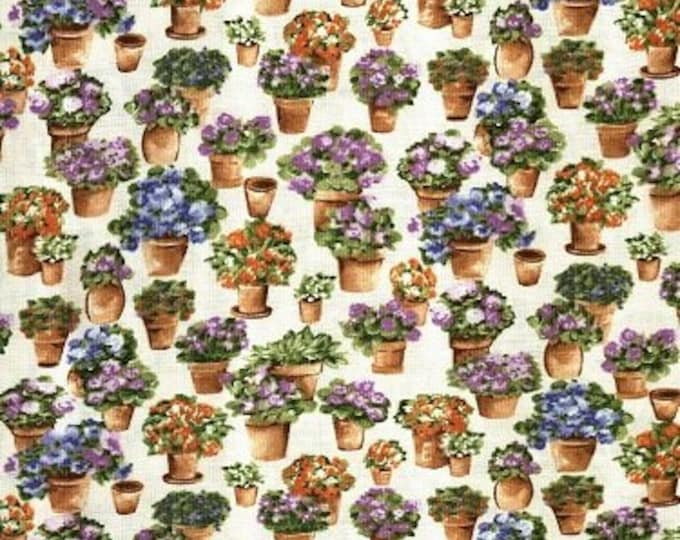 Fabric Freedom Country Garden F0389-02 Cotton Fabric Planters with Flowers BTY