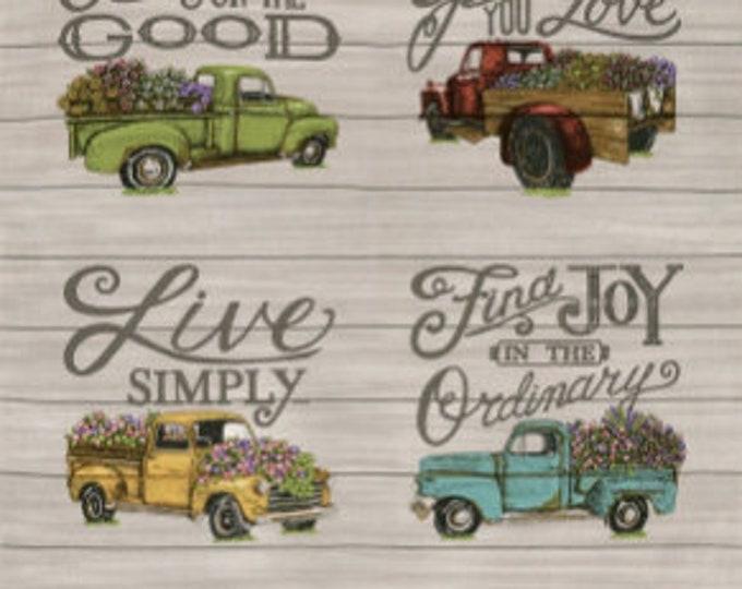 Moda Cultivate Kindness Deb Strain Truck Floral Wooden Farm Gray Grey 24 inch Panel Fabric BTP 19930-12
