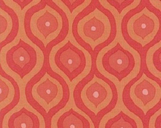 Free Spirit Cotton  Olive Rose Orange curves large  print with orange  background  07600-35  BTY