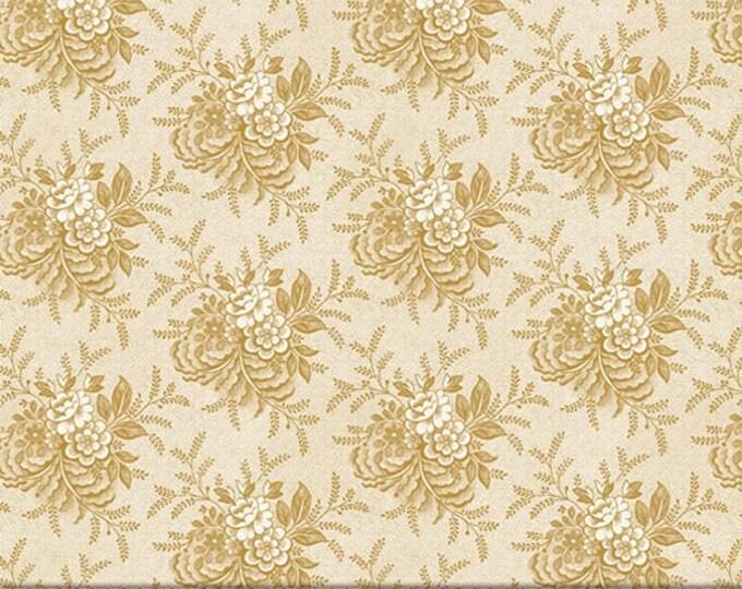 "P&B Textiles/Washington Street Studio 108"" Wide Back Historical Quilt Beige Floral  HIQB 4052 E Cotton Fabric BTY"