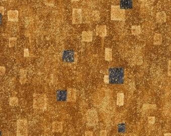 Robert Kaufman Gustav Klimt Grey Gray Black Gold Yellow Cotton Gilded Square Fabric BTY SRKM-17181-133