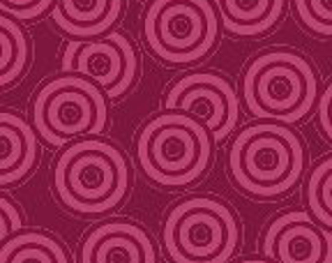 Benartex fabric Spirographix Circles Cherry on Cherry Background  Cotton 04402 88 BTY