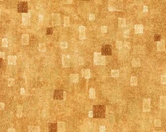 Robert Kaufman Gustav Klimt Tan Gold Yellow Cotton Gilded Square Fabric BTY 17181-13