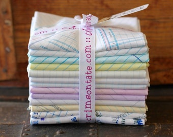 13 JOT Fat Quarters Windham Heather Givans Jot Yellow Pink Blue Ledger Paper White Blue Fabric
